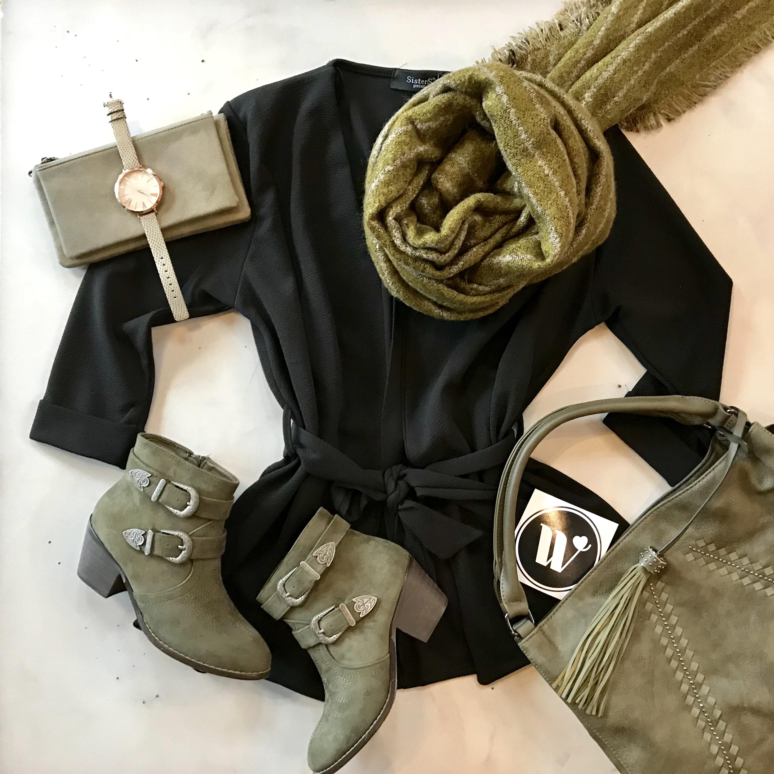 black and khaki